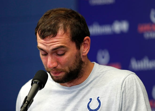 Indianapolis Colts quarterback Andrew Luck announces his retirement following their preseason game at Lucas Oil Stadium on Saturday, Aug 24, 2019.