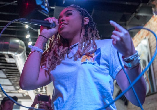 Amerikkken works through her set at the fifth annual Chreece, a hip-hop festival in Fountain Square, Indianapolis, Saturday, Aug. 24, 2019. The all-day festival showcases local artists and nationally known ones like Sadat X, Fat Tony and Talib Kweli.
