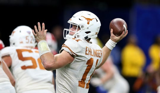 Jan 1, 2019; New Orleans, LA, USA; Texas Longhorns  quarterback Sam Ehlinger (11) throws in the second half against the Georgia Bulldogs during the 2019 Sugar Bowl at the Mercedes-Benz Superdome. Mandatory Credit: Chuck Cook-USA TODAY Sports