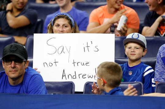 Indianapolis Colts fans were not happy when they heard the news about Andrew Luck late in the second half of their preseason game at Lucas Oil Stadium on Saturday, Aug 24, 2019.