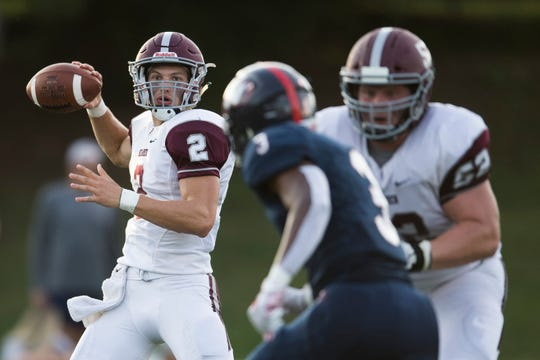 Bearden's Collin Ironside(2) throws the ball during a TSSAA high school football game between West and Bearden at West Saturday, Aug. 24, 2019. West defeated Bearden in overtime 34-31.