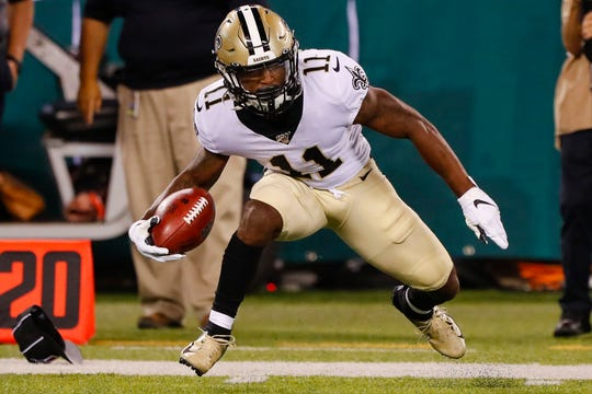 New Orleans Saints' Deonte Harris (11) during the first half of a preseason NFL football game against the New York Jets Saturday, Aug. 24, 2019, in East Rutherford, N.J. (AP Photo/Noah K. Murray)