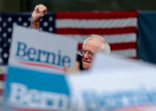 Democratic presidential candidate Senator Bernie Sanders speaks outside of the Muhammad Ali Center in Louisville, Kentucky. Aug. 25, 2019