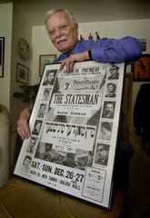"Paul Melrood, a veteran actor in Milwaukee's Yiddish theater, was photographed Feb. 8, 2000, with a poster from a 1953 Perhift Players production of ""The Statesman,"" an Israeli comedy in three acts by Joshua Bar Joseph."