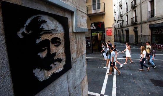 Hemingway is ever present in Pamplona.