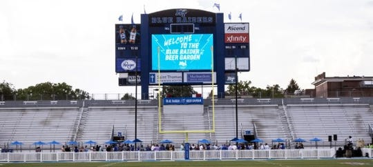 MTSU unveiled its beer garden to Floyd Stadium on August 22, 2019.