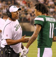 Hines Ward is a coaching intern for the Jets. He is on the sidelines with Robby Anderson during the game between the New Orleans Saints and the New York Jets in a pre season NFL game at Metlife Stadium in East Rutherford, NJ on August 24, 2019.