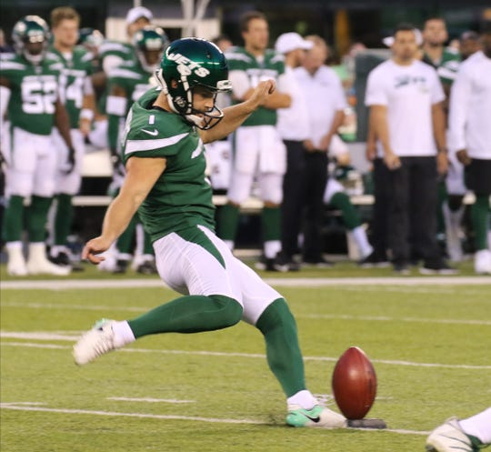 Taylor Bertolet of the NY Jets kicks the ball to start the game between the New Orleans Saints and the New York Jets in a pre season NFL game at Metlife Stadium in East Rutherford, NJ on August 24, 2019.
