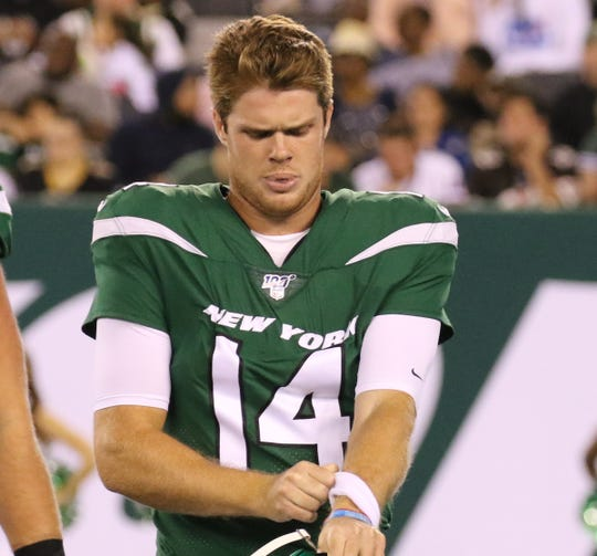 Sam Darnold of the NY Jets coming off the field after the Jets couldnÕt convert on third down during the game between the New Orleans Saints and the New York Jets in a pre season NFL game at Metlife Stadium in East Rutherford, NJ on August 24, 2019.