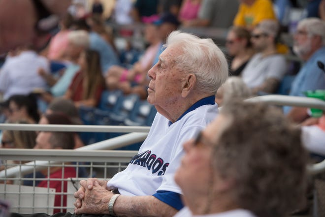 John Appleyard watches the Blue Wahoos play Sunday, August 25, 2019. The Blue Wahoos honored Appleyard with a lifetime achievement award and handed out John Appleyard bobbleheads.
