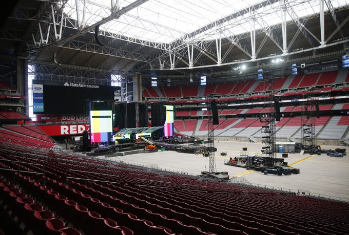 Workers assemble the stage for the on Rolling Stones No Filter Tour in Glendale Aug. 25, 2019.