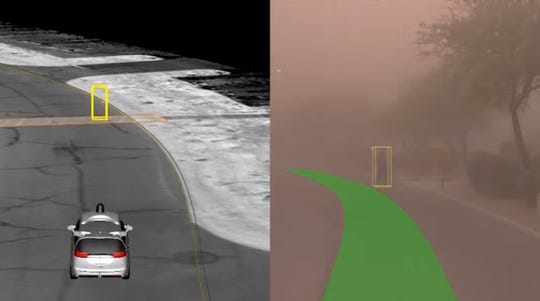 A Waymo vehicle navigates an Arizona dust storm as a pedestrian comes into view as shown via this screenshot from a YouTube video.