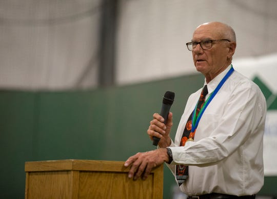 Former King City Basketball coach Ken Kline speaks while being inducted into the Salinas Valley Sports Hall of Fame during an awards ceremony at the Salinas Storm House on Saturday, Aug. 24, 2019. (Photo By David Royal)
