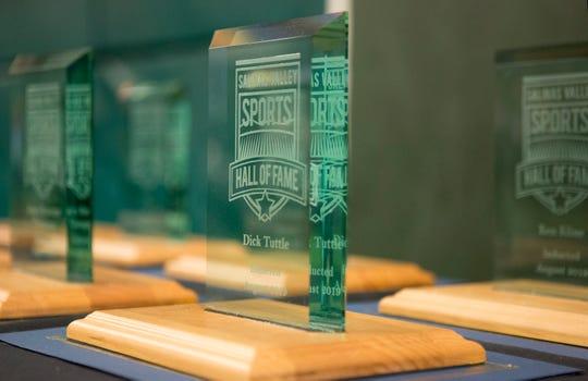 An award during the Salinas Valley Sports Hall of Fame Awards at the Salinas Storm House on Saturday, Aug. 24, 2019. (Photo By David Royal)