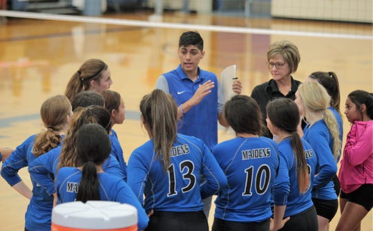 Lake View High School volleyball coach Luis Vasquez instructs his team during the 2019 Nita Vannoy Memorial Tournament Aug. 9-10, 2019, at Lake View's Ben Norton Gym.