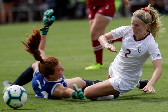 Florida State Seminoles forward/midfielder Jenna Nighswonger (2) and Wisconsin Badgers goalkeeper Jordyn Bloomer (24) collide during a game between FSU and the University of Wisconsin at the Seminole Soccer Complex Sunday, August 25, 2019.