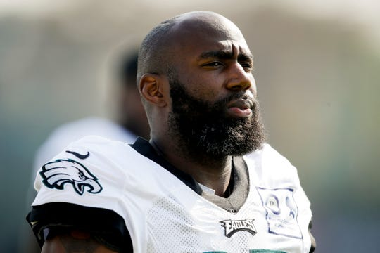 Philadelphia Eagles strong safety Malcolm Jenkins during practice at the team's training camp in Philadelphia, Tuesday, July 30.