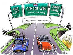2020 decisions don't have to be either far left or road to hell: Today's Toon