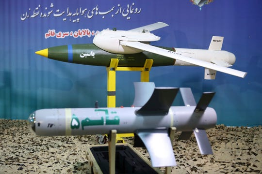 "This photo released by the official website of the Iranian Defense Ministry on Aug. 8, 2019, shows Iranian-made smart bombs during an unveiling ceremony, Iran. The semi-official ILNA news agency quoted Iranian Gen. Mohsen Rezaei on Sunday, Aug. 25, 2019, as denying claims by the Israeli military that it thwarted an imminent Iranian drone attack on Israel, calling that a ""lie."""
