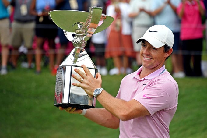 Aug. 25: Rory McIlroy celebrates with the FedEx Cup after winning the season-ending Tour Championship at East Lake Golf Club in Atlanta.