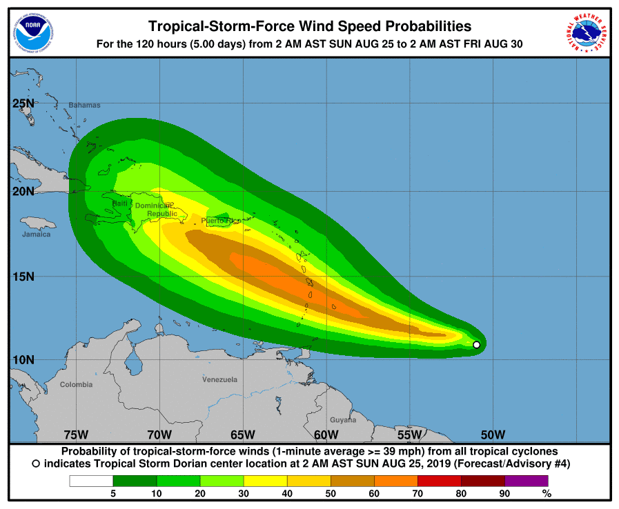 Tropical Storm Dorian could strengthen to hurricane as it reaches Caribbean