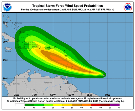 This graphic shows the potential wind speeds and areas that could be impacted as Tropical Storm Dorian moves into the Caribbean over the next several days.