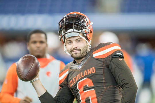 Baker Mayfield warms up before a Browns preseason game.