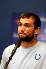 Andrew Luck announces his retirement in a press conference after the Indianapolis Colts' game against the Chicago Bears at Lucas Oil Stadium.