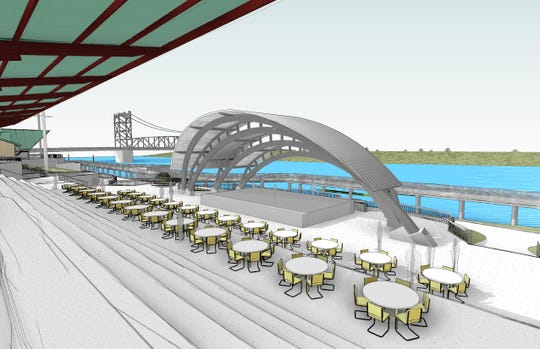 A shell over the stage at the amphitheater is among the improvements in a $5.2 million project along the riverfront in Alexandria. An elevated boardwalk over the river, seen in the background, is part of future plans.