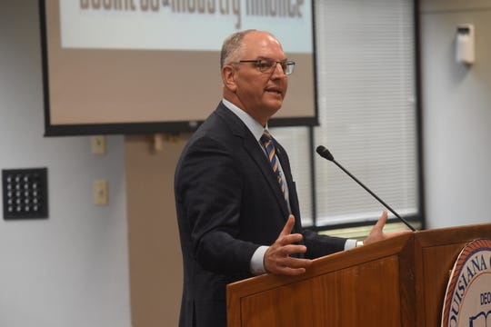 Gov. John Bel Edwards was the speaker at the North Rapides Business and Industry Alliance luncheon held Monday, Aug. 26, 2019 in Granberry Conference at Louisiana College.
