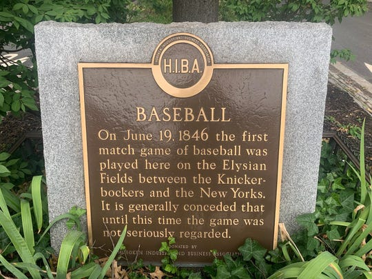 The Hoboken monument marking the site of the first recorded baseball game in 1846.