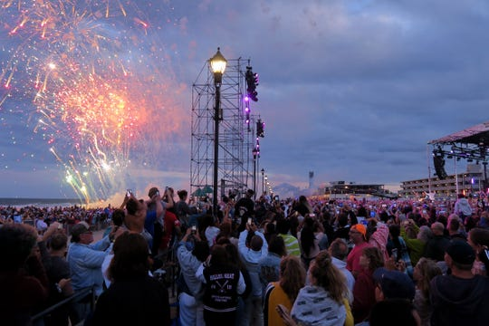Fireworks explode over the beach during The Jonas Brothers performance Sunday night, August 25, 2019, on the boardwalk across Ocean Avenue from the Stone Pony in Asbury Park, NJ.  They are filming their appearance on the MTV VMAs the following day.