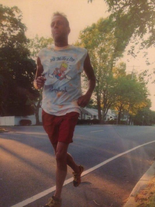 Kenneth Harmer jogging.