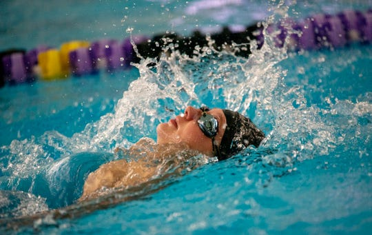 Battle Creek Central swimmer Megan Wright competes in the 800 yard freestyle relay on Saturday, Aug. 24, 2019 at Lakeview High School.