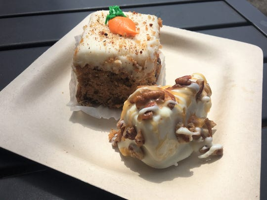 Simply Sensational Berries has joined with Café Rica to offer treats with your coffee, like this Turtle Cheesecake Bite. Or, you can get some carrot cake from Continental Pastries.