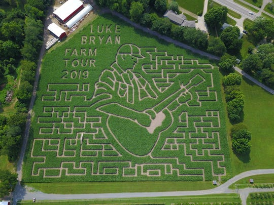 The 'Luke Bryan Farm Tour 2019' themed corn maze at Gull Meadow Farms in Richland, Michigan.
