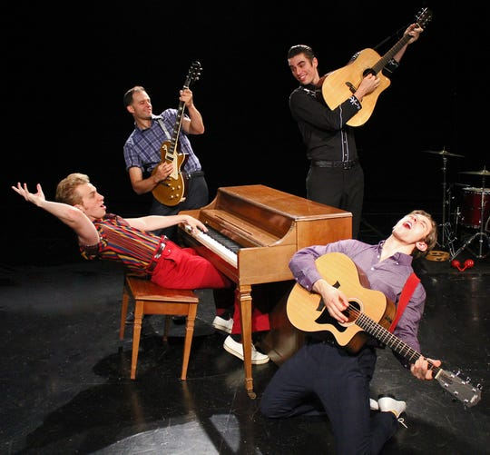Gavin Rohrer as Jerry Lee Lewis, Todd Meredith as Carl Perkins, Colin Barkell as Johnny Cash and Noah Jermain as Elvis Presley in Cortland Repertory Theatre's production of 'Million Dollar Quartet.'