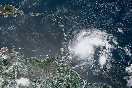 A satellite image of Tropical Storm Dorian, captured by NOAA's GOES-East satellite on Aug. 26