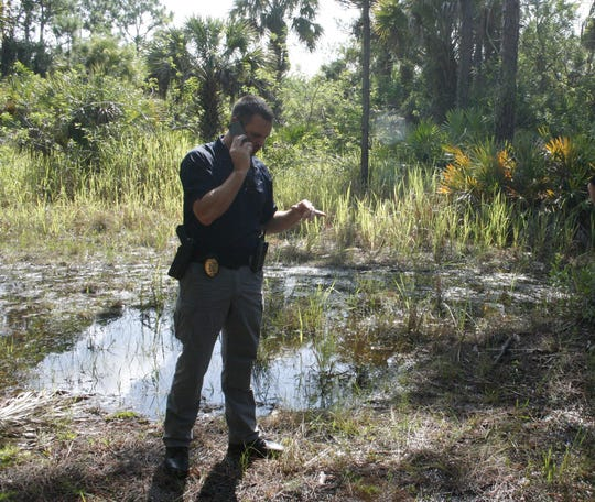 Palm Bay Police Sgt. Jeff Spears during a recent search for the remains of missing firefighter Brandy Hall.