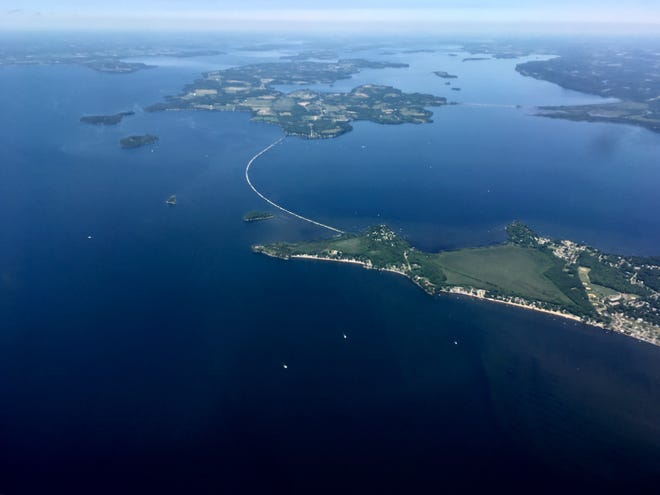 The marble causeway between Colchester and South Hero, Vermont, is viewed from an airplane on July 8, 2019. Rail traffic plied this route between Burlington and Montreal from 1899 until 1961.