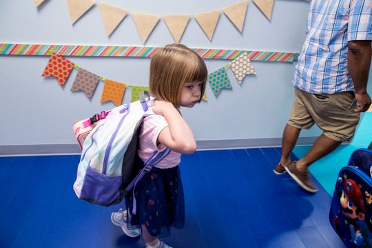 A first-grader walks to class at Windsor Park Elementary School on Monday, August 26, 2019. It is one of three new schools in the Corpus Christi Independent School District this year.