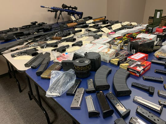 The Kleberg County Sheriff's Office and the Drug Enforcement Administration seized a number of high-powered rifles, handguns, a tactical a shotgun and several hundred rounds of ammunition following the execution of a search warrant in Kingsville on Aug. 22, 2019.