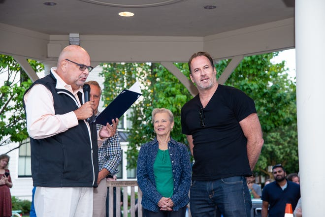 Mayor Neal Rochford declared Saturday 'Scott Patterson Day' in Haddonfield and hosted an event in Kings Court. Patterson is a TV and film star and former pro baseball player.