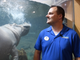 Shawn Danner, a biologist at Adventure Aquarium in Camden, talks about the recently renovated Hippo Haven exhibit featuring Button and Genny.