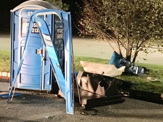 Washington Township police are investigating an explosion inside a portable toilet outside the planned site of a Home Decor store on Route 42.