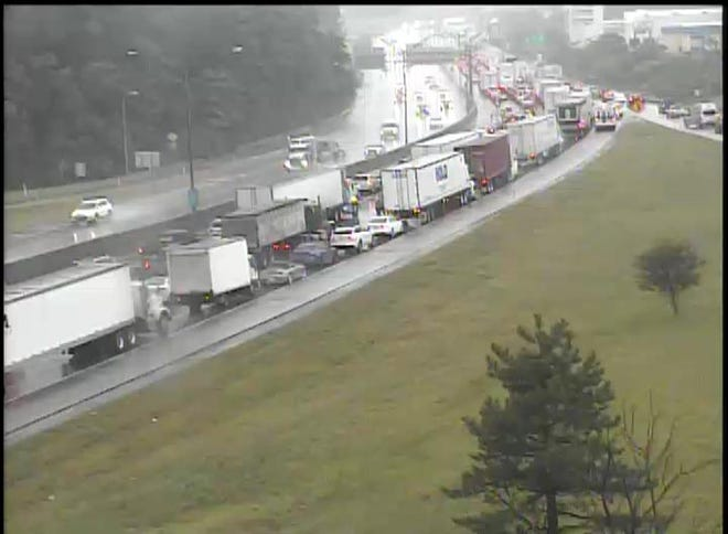 Southbound I-71/75 is shutdown at Dixie Highwayin Fort Mitchell for a jackknifed semi, police said.
