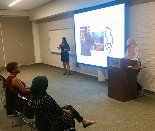 Fatema Sumrein, a language arts teacher at McManus Middle School in Linden, delivers her TED Talk at The College of New Jersey on July 31.