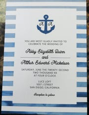 A sample wedding invitation with a nautical theme from OHSO, a new online wedding invitation and stationery  business in Coshocton.