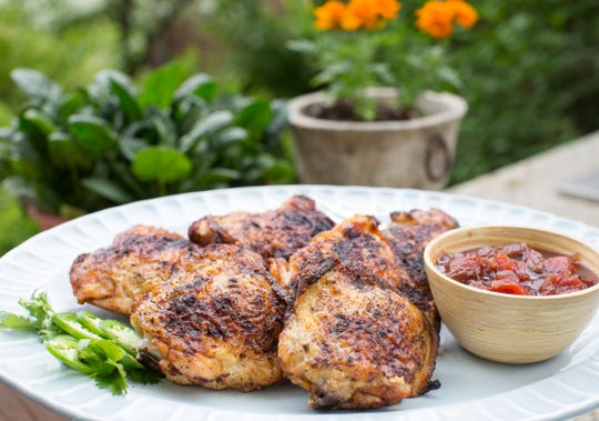 Ancho Chile Chicken Thighs with Tomato Chutney.