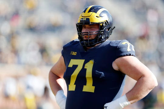 Michigan offensive lineman Andrew Stueber during the spring game April 13, 2019, in Ann Arbor.